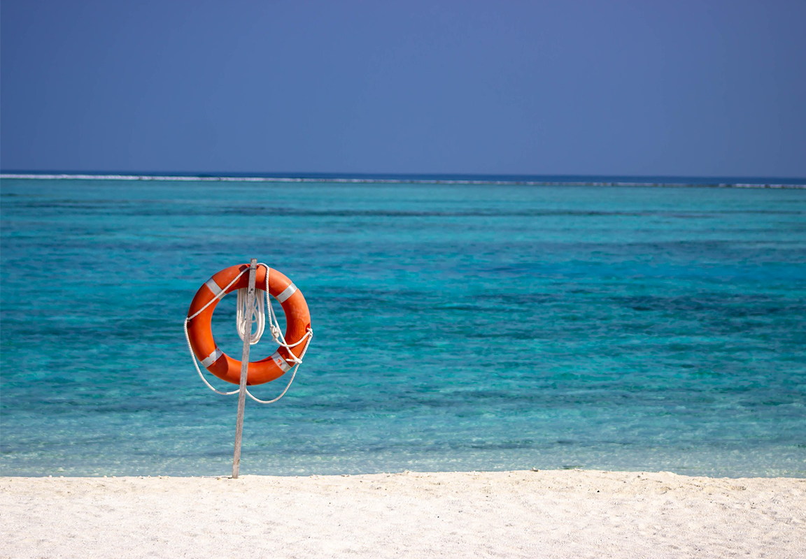 Beach with Life Preserver posted